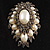 Oversized Vintage Corsage Faux Pearl Brooch (Light Cream) - view 2