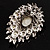 Oversized Vintage Corsage Faux Pearl Brooch (Light Cream) - view 6