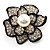 Bridal Faux Pearl Crystal Flower Brooch (Black & Silver)