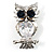 Stunning CZ Owl Brooch (Silver Tone) - view 8