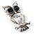 Stunning CZ Owl Brooch (Silver Tone) - view 4