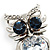 Stunning CZ Owl Brooch (Silver Tone) - view 3