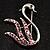 Lilac Crystal Swan Brooch (Silver Tone)