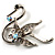 Graceful Clear Crystal Swan Brooch (Silver Tone)