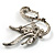 Graceful Clear Crystal Swan Brooch (Silver Tone) - view 4