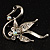 Graceful Clear Crystal Swan Brooch (Silver Tone) - view 2