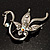 Graceful Clear Crystal Swan Brooch (Silver Tone) - view 5