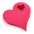Pink Plastic 'Heart in Heart' Brooch - view 3