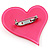 Pink Plastic 'Heart in Heart' Brooch - view 4