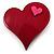 Burgundy Plastic 'Heart in Heart' Brooch