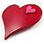 Burgundy Plastic 'Heart in Heart' Brooch - view 2