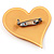 Yellow Plastic 'Heart in Heart' Brooch - view 3