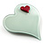 Pale Green Plastic 'Heart in Heart' Brooch - view 2
