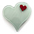 Pale Green Plastic 'Heart in Heart' Brooch