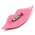 Pale Pink Plastic Crystal Lips Brooch - view 4