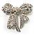 Stunning Swarovski Crystal Bow Brooch (Silver Tone) - view 8