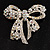Stunning Swarovski Crystal Bow Brooch (Silver Tone) - view 2