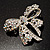 Stunning Swarovski Crystal Bow Brooch (Silver Tone) - view 3