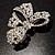 Stunning Swarovski Crystal Bow Brooch (Silver Tone) - view 4