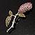 Vintage Crystal Rose Brooch (SilverTone) - view 9