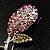 Vintage Crystal Rose Brooch (SilverTone) - view 6