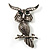 Charming Marcasite Crystal Owl Brooch - view 1