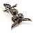 Charming Marcasite Crystal Owl Brooch - view 6