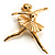 'Dancing Ballerina' Fashion Brooch (Gold Tone)