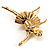 'Dancing Ballerina' Fashion Brooch (Gold Tone) - view 3