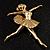 'Dancing Ballerina' Fashion Brooch (Gold Tone) - view 5