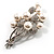 Faux Pearl Floral Brooch (Silver & White) - view 4