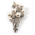 Faux Pearl Floral Brooch (Silver & White) - view 2