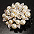 Stunning Wedding Imitation Pearl AB Crystal Corsage Brooch (Silver Tone) - view 6