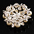 Stunning Wedding Imitation Pearl AB Crystal Corsage Brooch (Silver Tone) - view 5