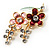Gold Tone Enamel Crystal Floral Brooch (Pink&Red) - view 3