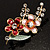 Gold Tone Enamel Crystal Floral Brooch (Pink&Red) - view 2
