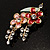 Gold Tone Enamel Crystal Floral Brooch (Pink&Red) - view 5