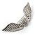 Crystal Heart And Wings Brooch (Silver Tone)