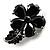 Tiny Jet Black CZ Flower Pin Brooch - view 3