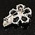 Tiny Jet Black CZ Flower Pin Brooch - view 4