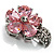Tiny Pink CZ Flower Pin Brooch - view 3
