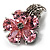Tiny Pink CZ Flower Pin Brooch - view 4