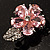 Tiny Pink CZ Flower Pin Brooch - view 2