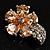 Tiny Champagne CZ Flower Pin Brooch