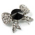 Smart Crystal Bow Brooch (Silver,Clear&Black) - view 2