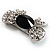 Smart Crystal Bow Brooch (Silver,Clear&Black) - view 3