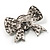 Smart Crystal Bow Brooch (Silver,Clear&Black) - view 4