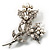 Crystal Faux Pearl Butterfly Brooch (Silver Tone) - view 5