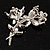 Crystal Faux Pearl Butterfly Brooch (Silver Tone) - view 6