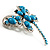 Turquoise Stone Crystal Butterfly Brooch - view 9
